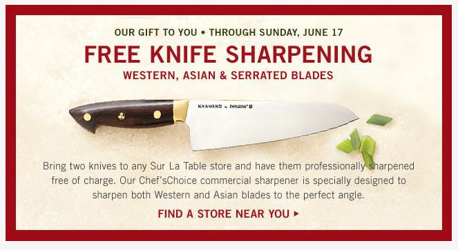 free knife sharpening at sur la table! - freebies2deals