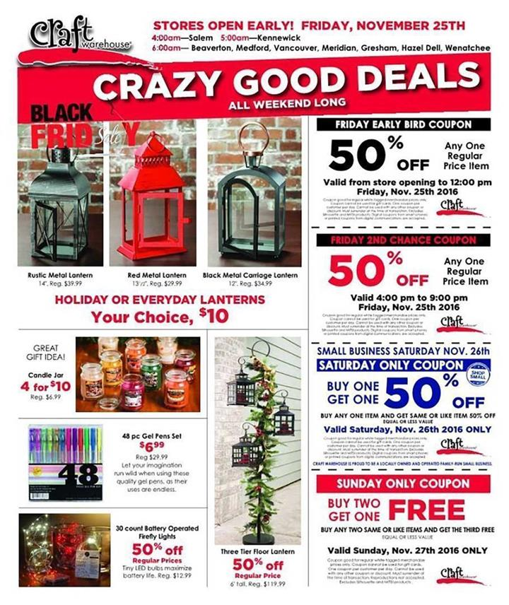 Craft Warehouse Black Friday Ad 2016 - Pg 1