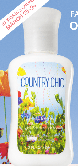 Free 2oz Country Chic Body Lotion From Bath And Body Works