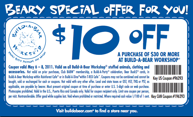 Build a bear discount coupons