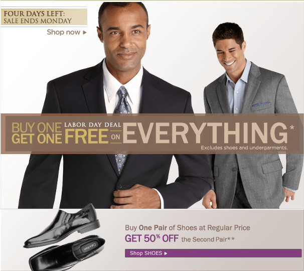Check out our 25 Mens Wearhouse coupon codes including 25 sales. Most popular now: Up to 50% Off Men's Wearhouse Daily Deals. Latest offer: Buy 1 Get 1 at 50% Off on Shoes from The Men's Wearhouse.