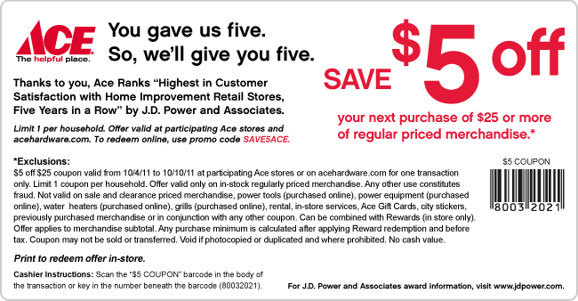FREE coupon for $5 at Ace on y...