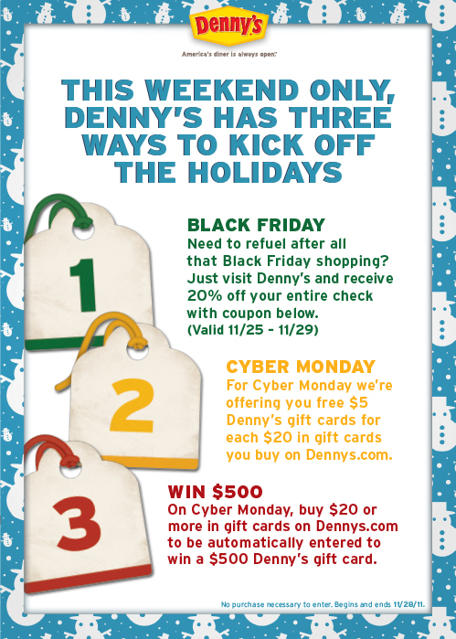 denny s gift card denny s free 5 denny s gift card for every 20 in gift 2760