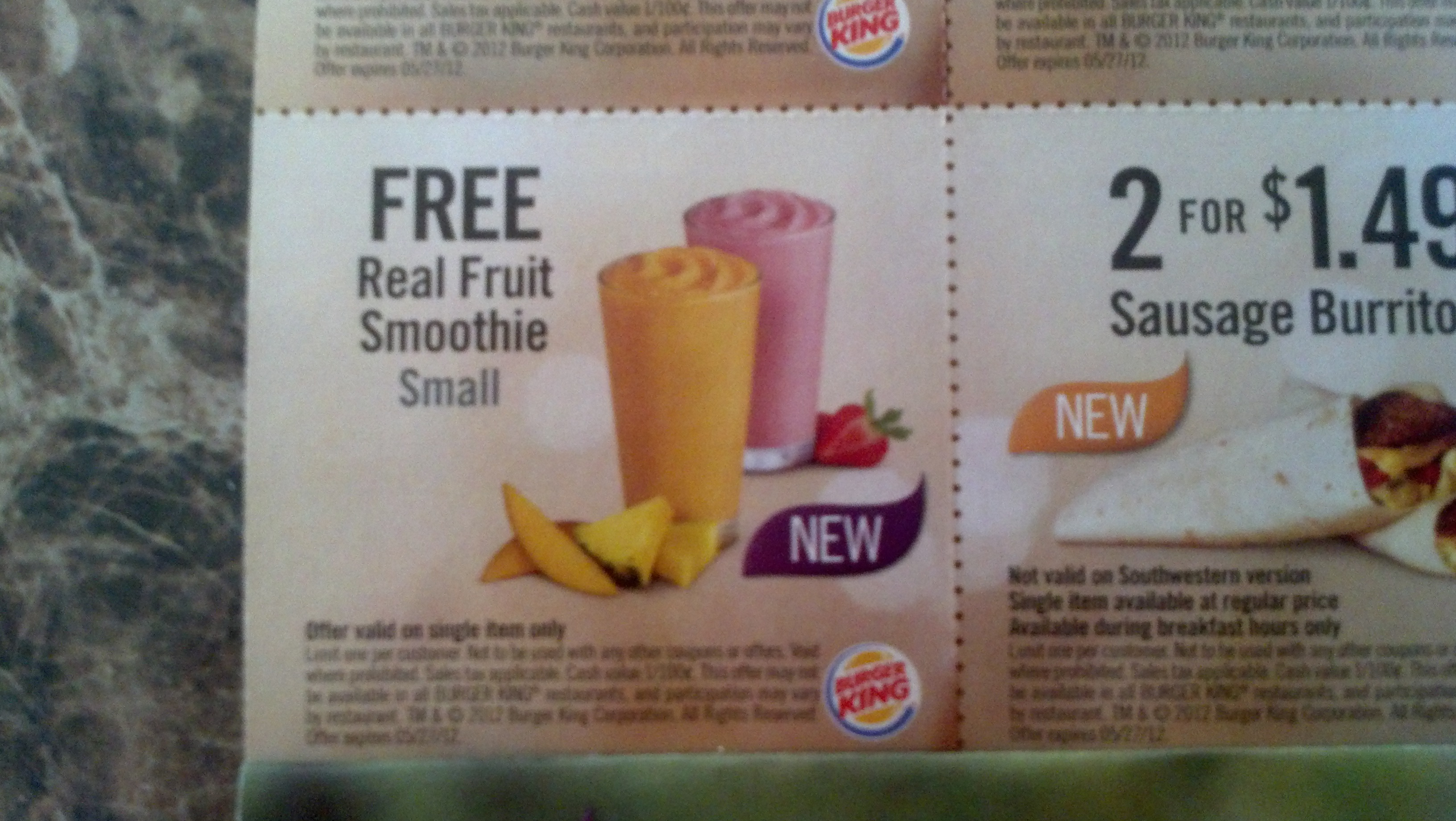Free Fruit Smoothie Coupon From Burger King In The Mail