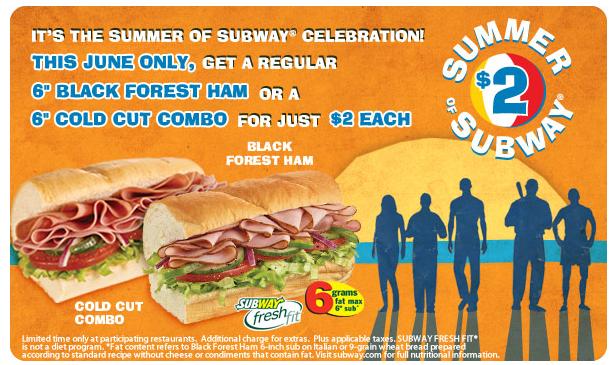 "Subway: 6"" Black Forest Ham Sub or 6"