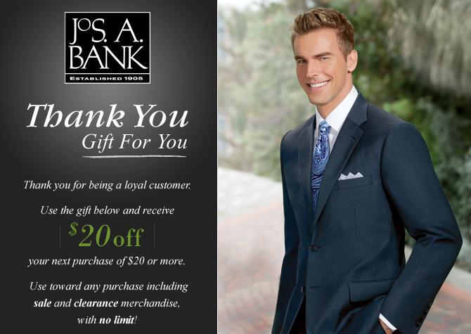 Jos. A. Bank has just released a pretty awesome coupon. Now through