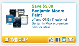 new coupon for off of any one gallon of benjamin moore paint. Black Bedroom Furniture Sets. Home Design Ideas