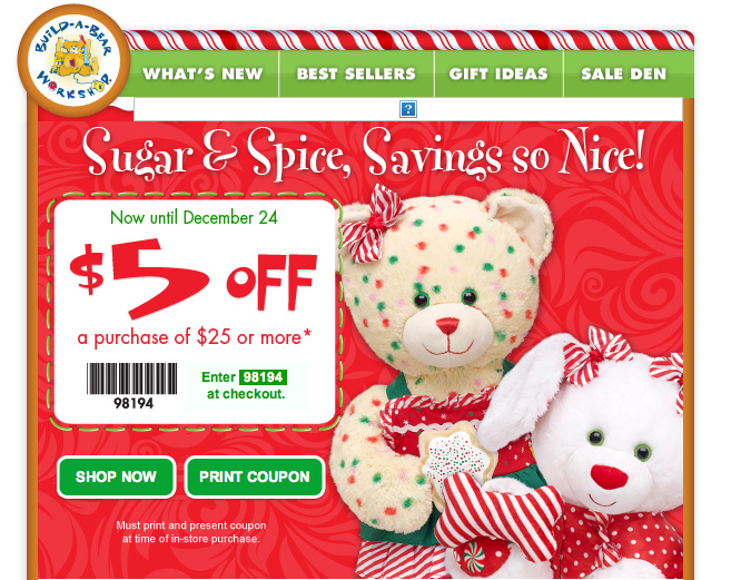 photo relating to Build a Bear Printable Coupon called $5 Off A $25 Invest in at Acquire A Undergo! - Freebies2Specials