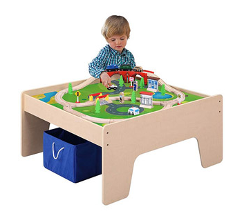 Stupendous Kidkraft Wooden Train Table With 3 Bins And 120 Piece Interior Design Ideas Apansoteloinfo