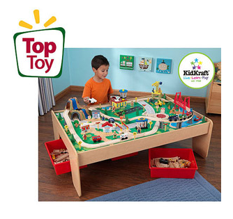 I ...  sc 1 st  Freebies2Deals & KidKraft Wooden Train Table with 3 Bins and 120-Piece Waterfall ...