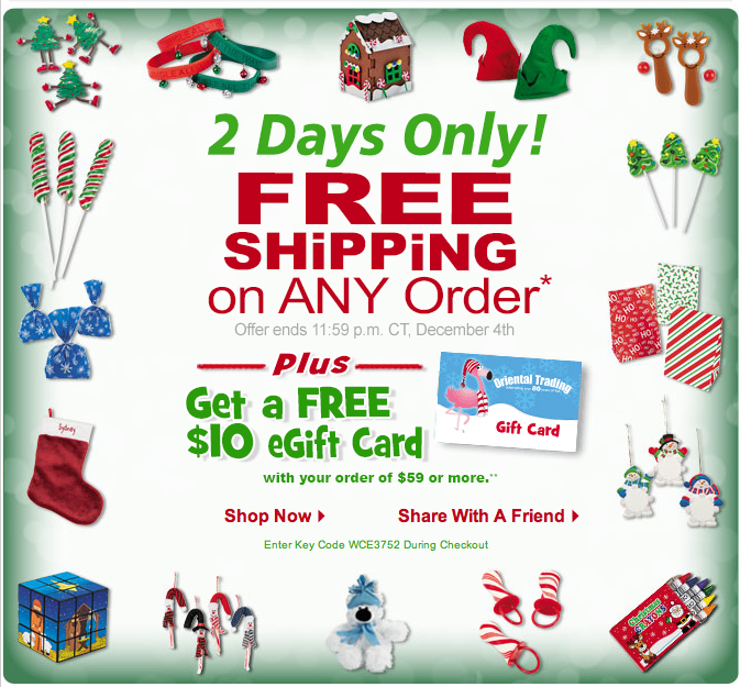 for two days only december 3rd 4th oriental trading is offering free