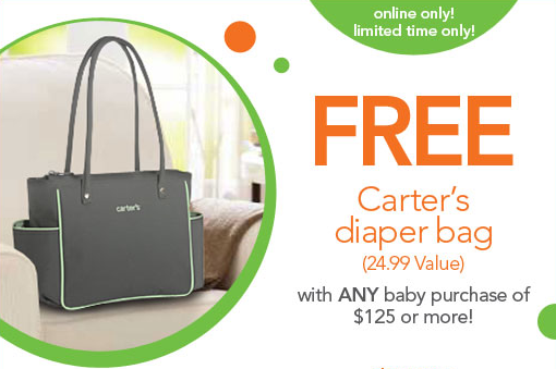 babies r us free carters diaper bag with online of purchases 125 or more freebies2deals. Black Bedroom Furniture Sets. Home Design Ideas