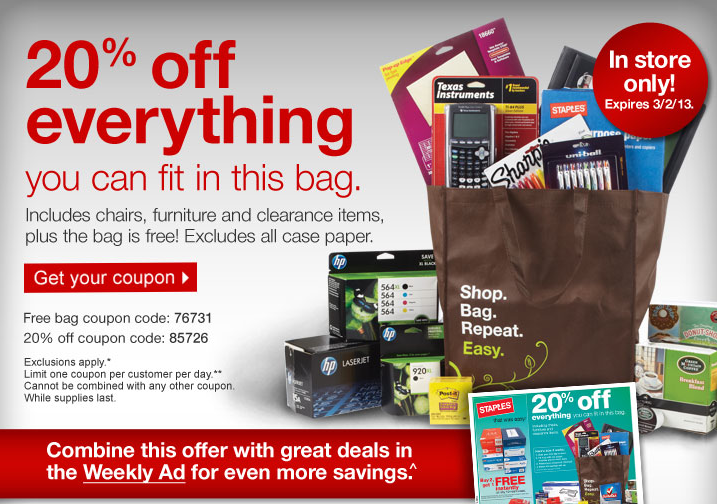 Staples Fill A Bag Promotion 20 Off Everything You Can