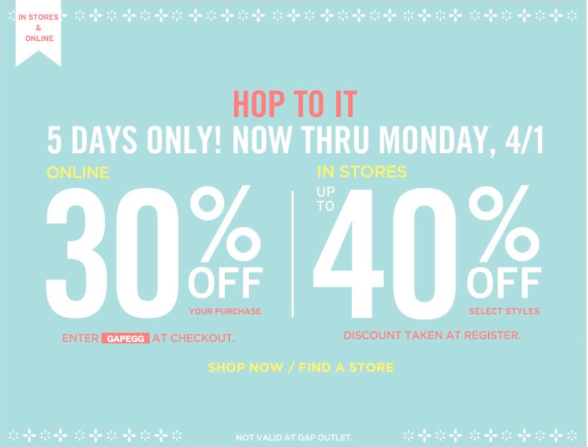 Gap outlet 40 off coupon march 2018