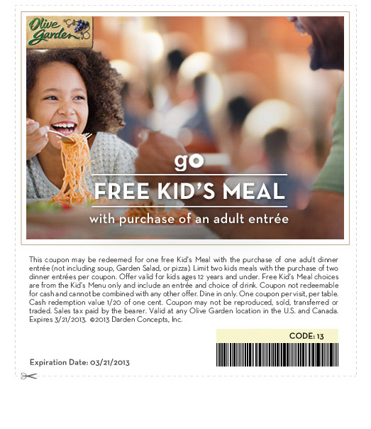 Olive Garden Free Kids Meals With Purchase Of Adult Entree Freebies2deals