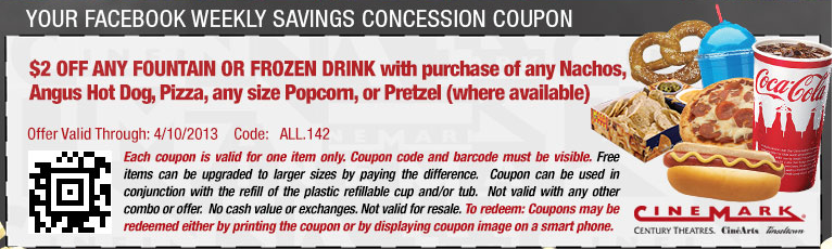 Discount coupons cinemark movies
