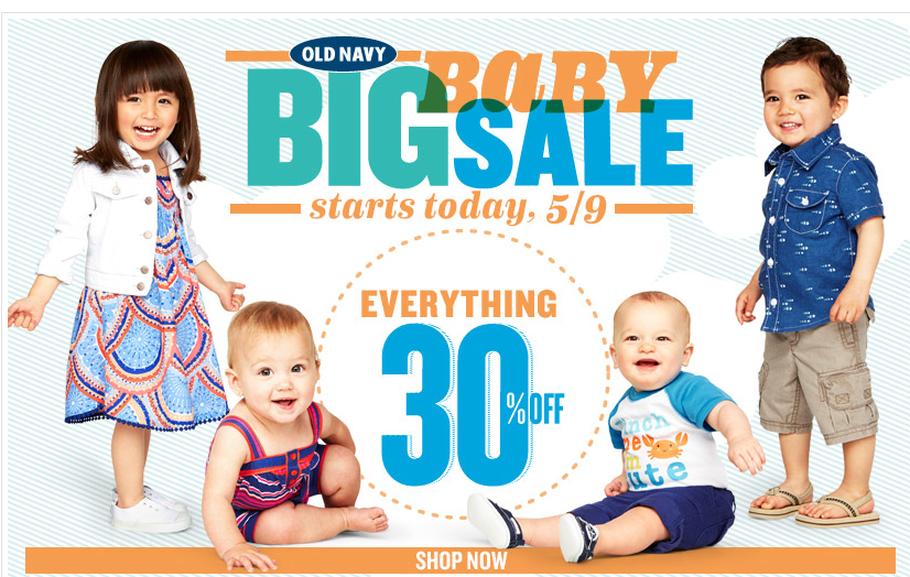 Old Navy Big Baby Sale! Enjoy 30% Off Your Entire Purchase ...