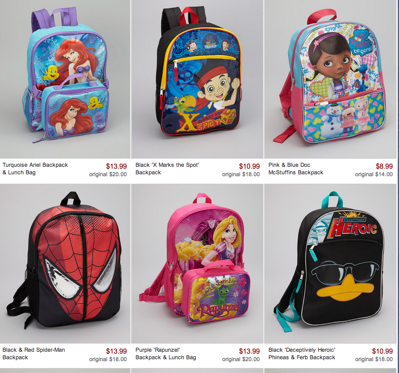 Kid's Character Backpack and Lunchbag Sale! As low as $7.99 ...