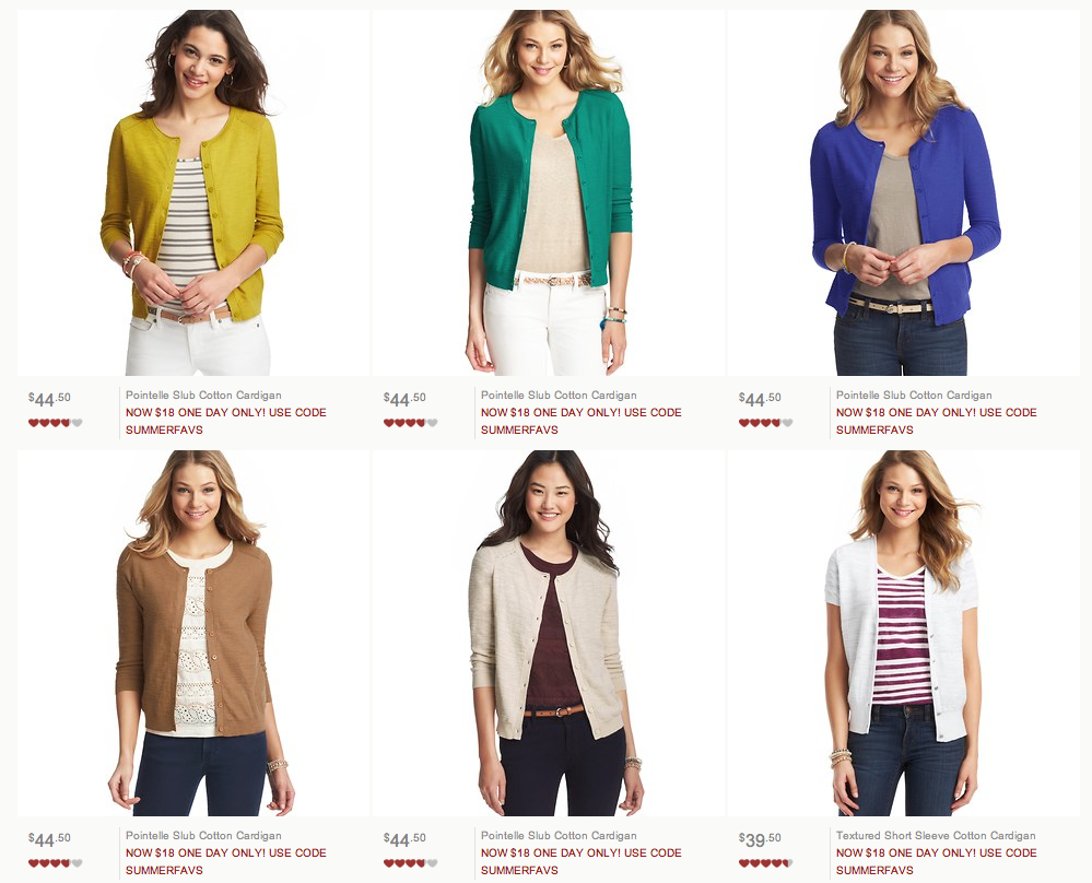 Today Only - Favorite Cardigans at Ann Taylor Loft Just $18.00 ...