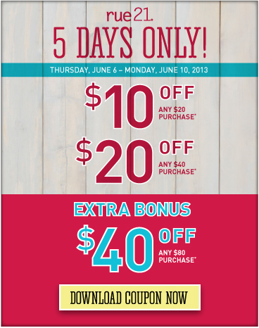Rue 21 discount coupons