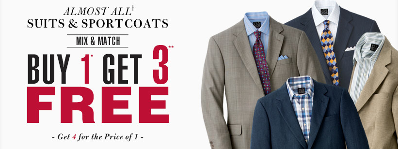Jos. A. Bank: Buy 1 Men's Suit or Sportcoat, Get 3 FREE! Get $350 ...