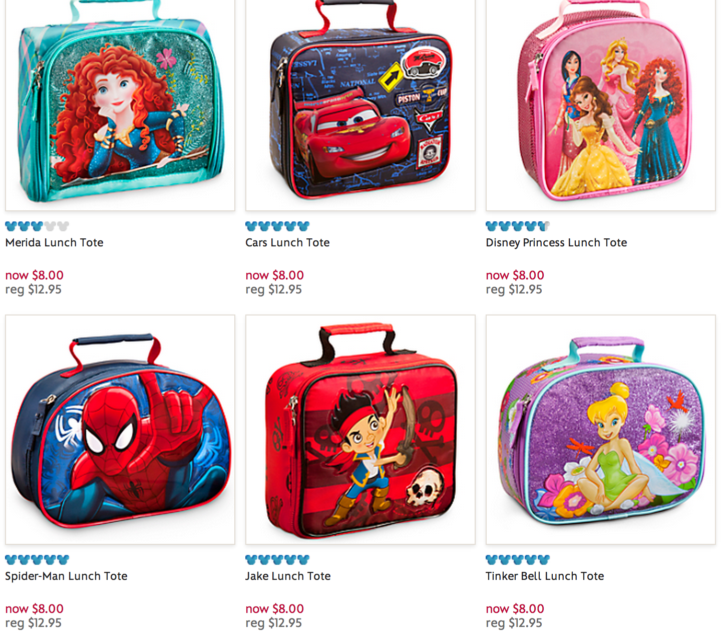 PRICE DROP: Disney Store Backpacks $12 and Lunch Boxes $8 ...