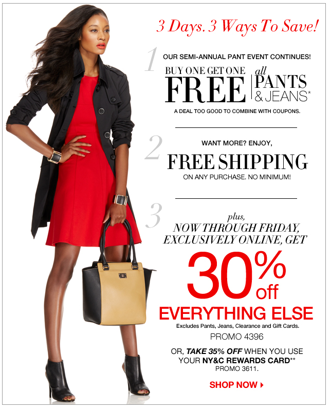 a08d9633b1 New York & Company: Buy 1 Get 1 FREE On Pants & Jeans! FREE Shipping ...