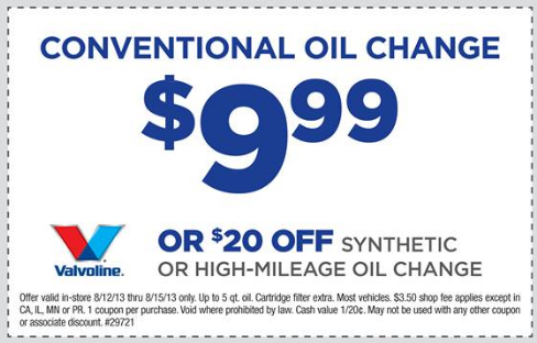 Auto oil changers coupon