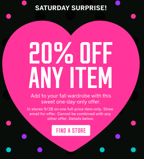 2373cab99dc Victoria Secret  20% Off Any Full Price Item Saturday 9 28 Only ...