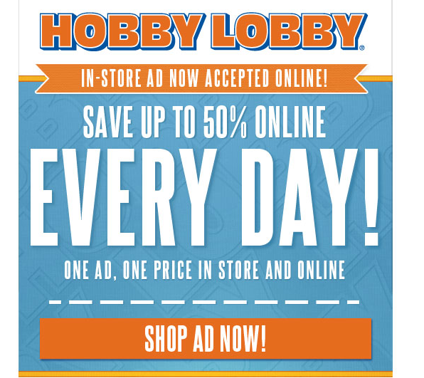 Hobby lobby in store ad now accepted online save up to 50 online freebies2deals hobby lobby gumiabroncs Choice Image
