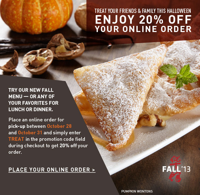 P.F. Changs: 20% Off Online Take Out Orders 10/28-10/31 ...