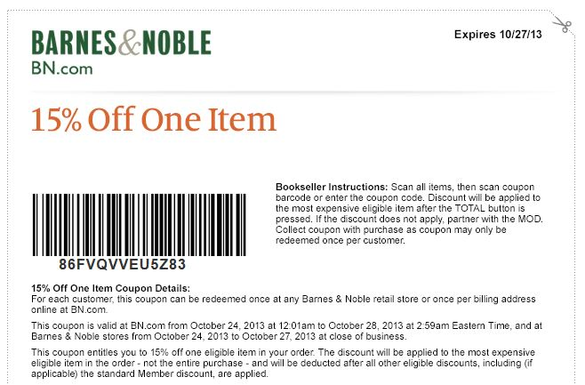 photograph relating to Barnes and Noble Printable Coupon called Barnes Noble: 15% Off 1 Products Printable Coupon or On-line