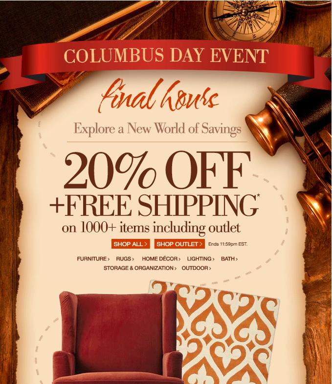 Home Decorators Outlet Coupon: Home Decorators Columbus Day Sale: Enjoy 20% Off & FREE