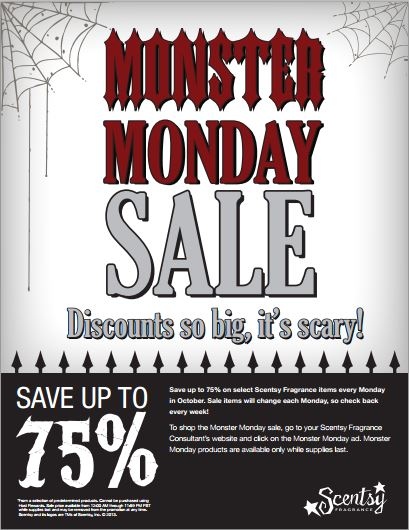 7c03ea7e7168 EXTENDED: Scentsy Family Monster Monday Sales in October!! Crazy Deals!