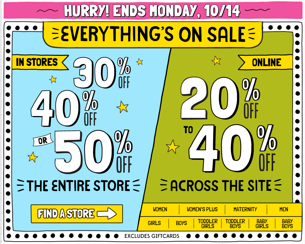 Old Navy: Enjoy Up To 50% Off Everything In-Store or Up To 40% Off ...