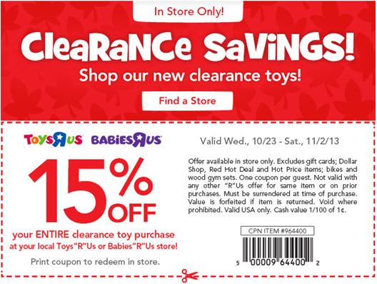 Discount coupon for toys r us