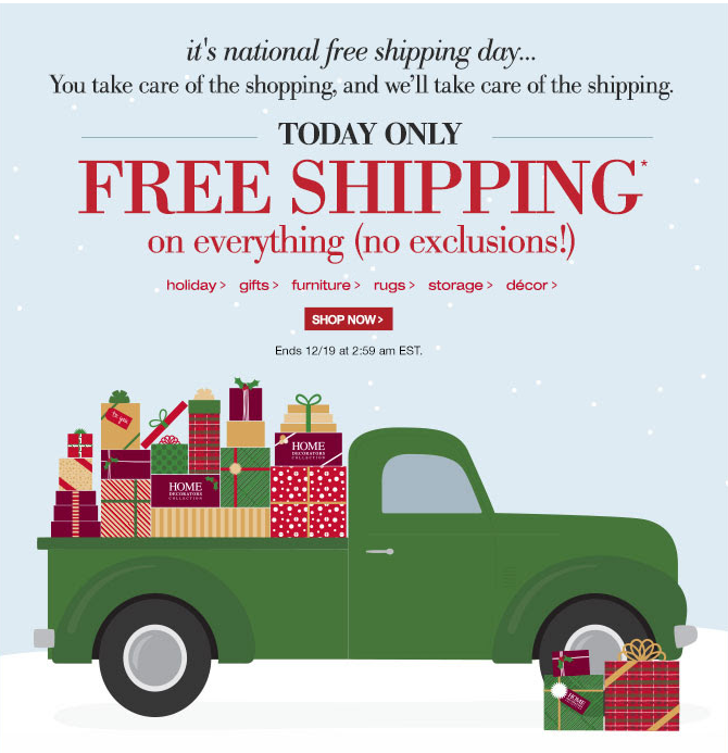 today only december 18th home decorators is offering free shipping