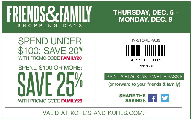 Kohl s Friends   Family Sale  Enjoy Up To 25% Off Your Entire Order! Plus,  Get  10 In Kohl s Cash For Every  50 You Spend! b3f0f9d336