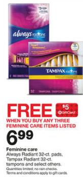 Targets best weekly deals 126 21 freebies2deals possible scenario purchse 3 tampax radiant tampons at 699 each for 2097 total use the 1 off 2 tampax products target coupon from the 1 5 14 pg fandeluxe Gallery