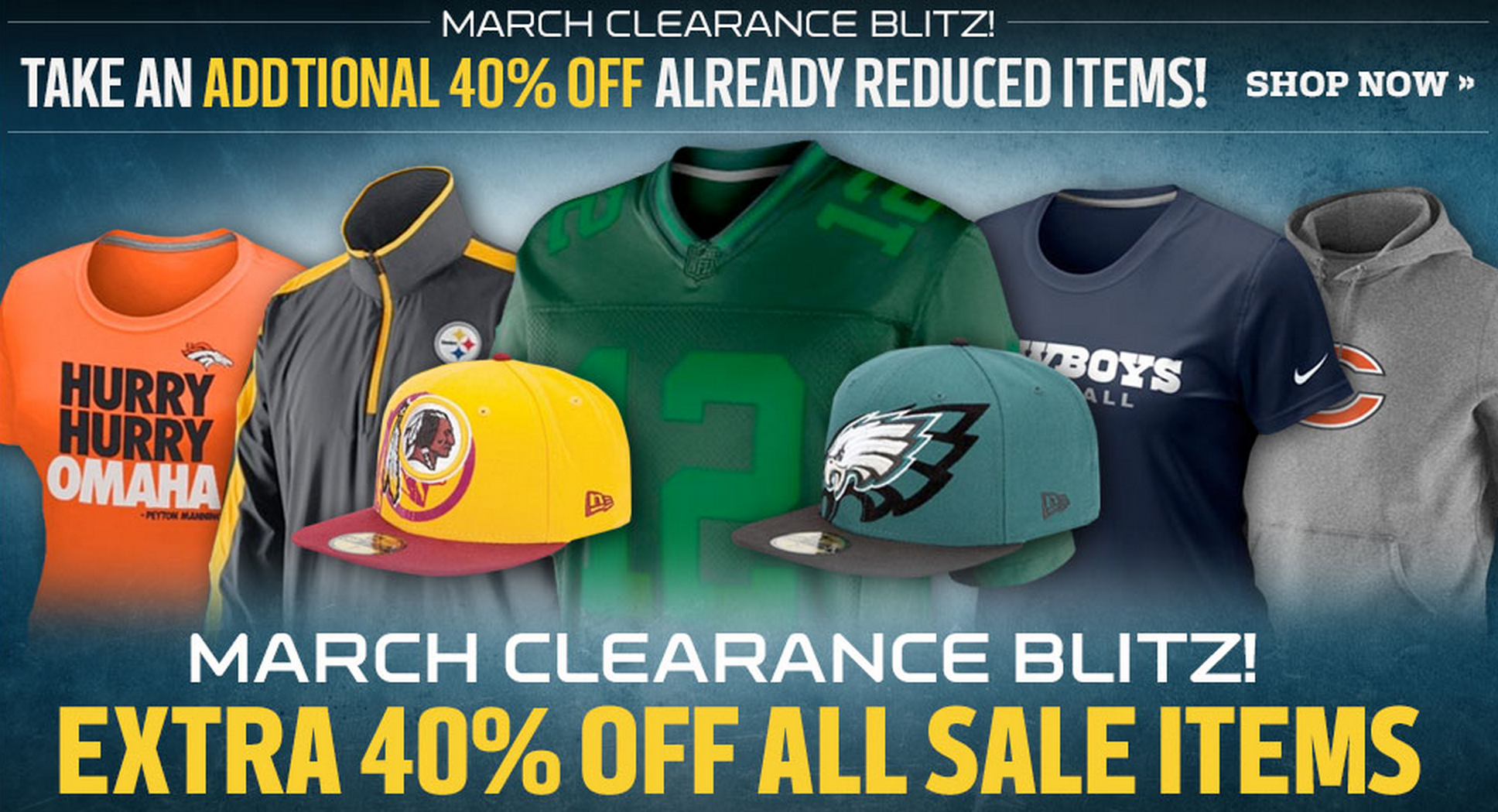 174e6380cb3 nfl shop discount coupon code · The NFL Shop is taking an extra 40% off all  marked down items ...