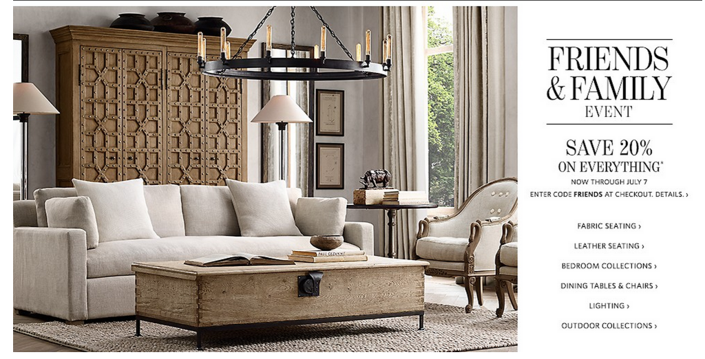 Restoration hardware friends and family sale everything for When is restoration hardware lighting sale