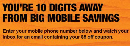 * The Promo Text Program is one of several text alert programs that The Home Depot may conduct from time to time. Your signed consent to participate in this program will be treated separately from your consent to participate in any of our other programs.