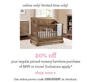 20% f Your Regular Priced Nursery Furniture Purchase at