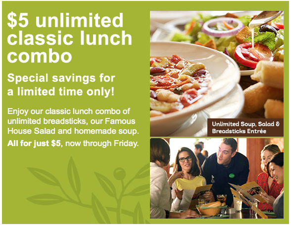 Offer Extended Unlimited Classic Lunch Combo At