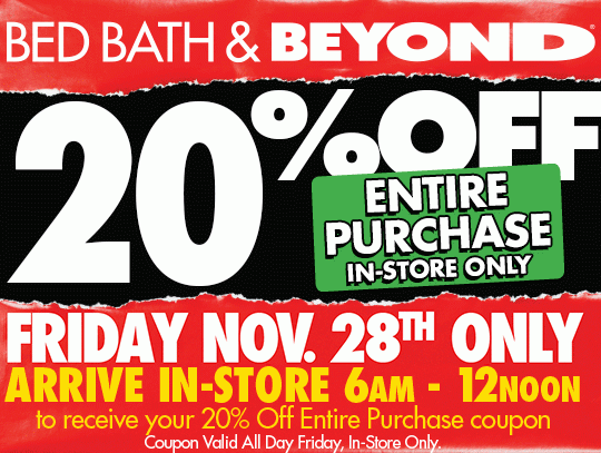 Bed Bath Beyond 20 Off Your Entire In Store Purchase