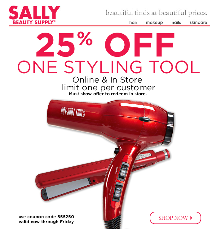 Browse your local Sally Beauty Supply ad because sometimes they have coupons or offers that can be used on your online purchases, too. How to Use Sally Beauty Supply Coupons Skim and scan 0zu1.gq for coupon codes that you can apply to your Sally Beauty Supply order%().