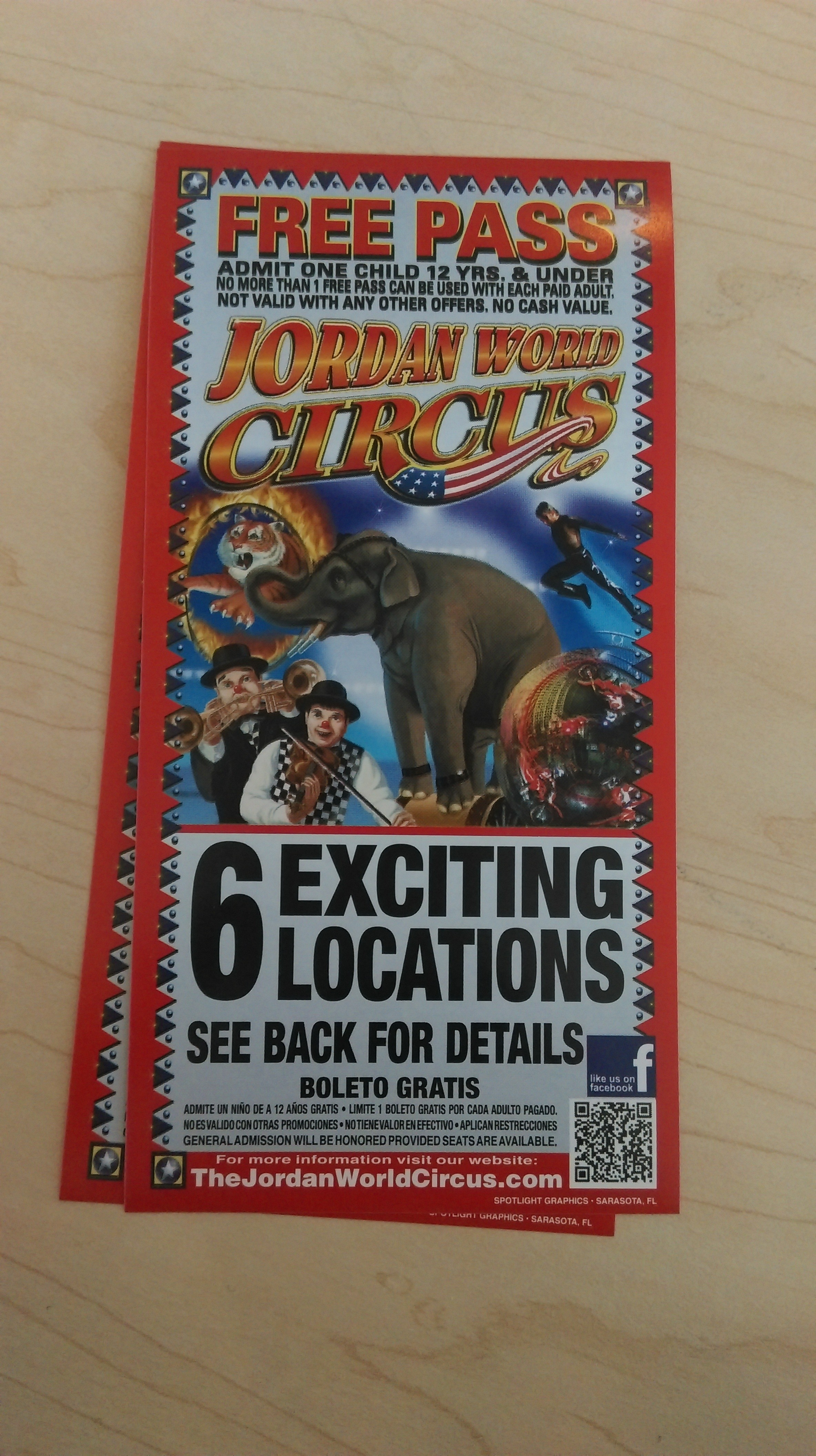 Free Child Pass To The Jordan World Circus With Paid Adult