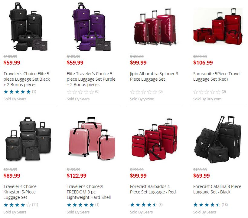 Sears Luggage Sale! 7 Piece Tarveler's Choice Luggage Set Only ...