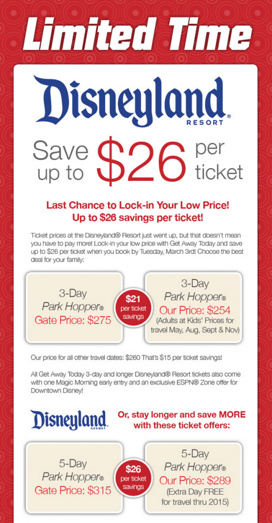 lower prices for disneyland