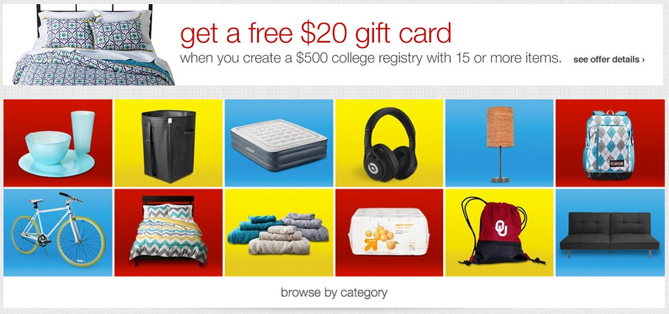 Target Wedding Registry Gift Card Offer : College Registry at Target & Receive a FREE USD20 Target Gift Card ...